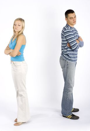 offended: young woman and man offended Stock Photo