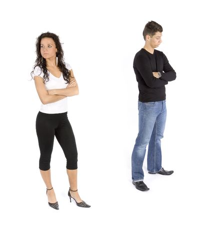 insult: couples quarrel (white background) Stock Photo