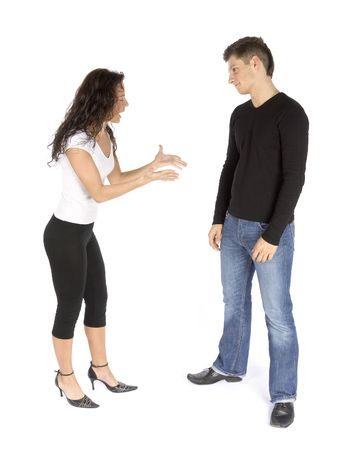 insult: couples quarrel  - woman crying (white background)