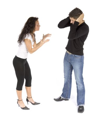 offence: couples quarrel  - woman crying; man stops ears (white background) Stock Photo