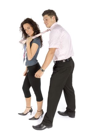 young couple - slave of love (white background) photo