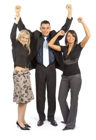 A group of business people celebrate their team success Stock Photo