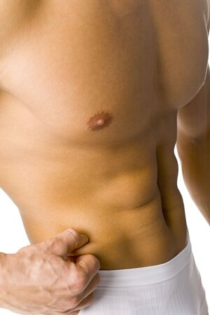 mesure: Closeup of athletic male body - there is no fat. Isolated on white in studio.