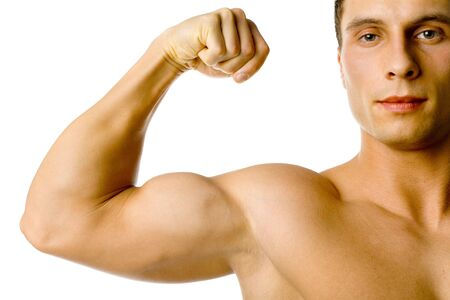 flexed: Closeup of male flexed arm and face. Isolated on white in studio. Stock Photo