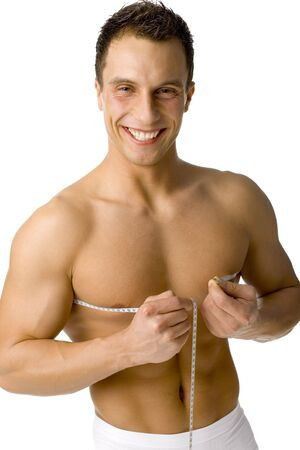 mesure: Happy smiled mans mesuring his chest. Isolated on white in studio.