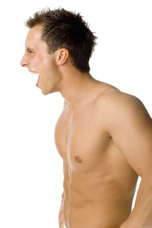 testosterone: Young muscular mans screaming. Side view. Isolated on white in studio.