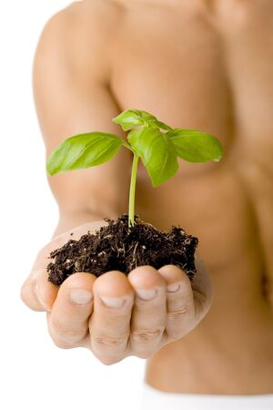 Muscular man holding small plant and soil in his hand. Isolated on white in studio.  Stock Photo