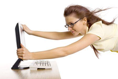 viento soplando: Vuelo de la mujer en el viento fuerte. Est� soplando de la pantalla de computadora. Aislado en blanco en estudio.
