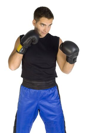 contestant: Young man in black boxing gloves, isolated on white in studio.