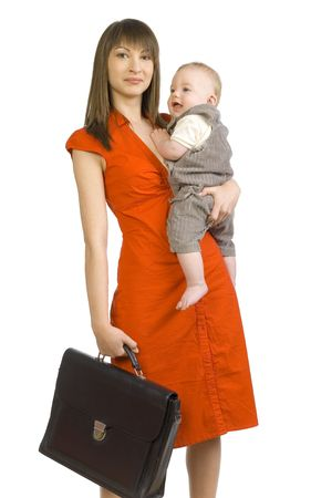 Young smiling mother with baby boy on hand. In other holding briefcase. Looking at camera. Isolated on white Stock Photo