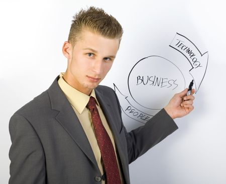 Young businessman standing in front of the blackboard. Showing the graph. Looking at camera, gray background photo