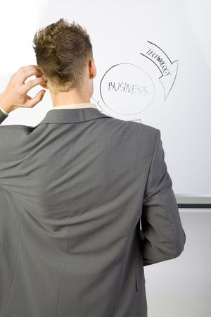 Young businessman standing in front of the blackboard. Wondering of something. Rear view, gray background photo