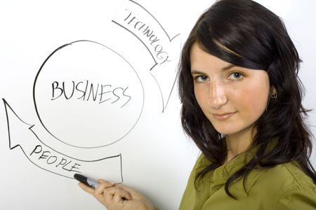instruct: Beauty businesswoman standing in front of blackboard. Smiling and showing the graph. Looking at camera. Gray background