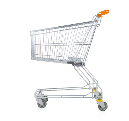 Metallic trolley isolated on white in studio. Side view photo