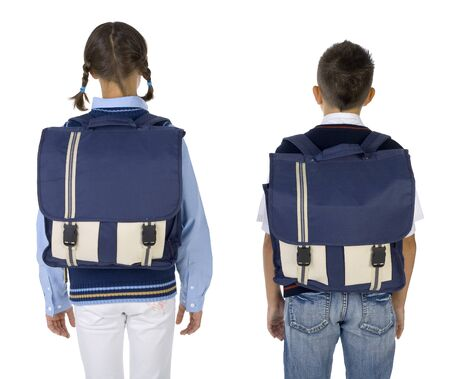 grade schooler: Boy and girl with big backpacks. White background, rear view