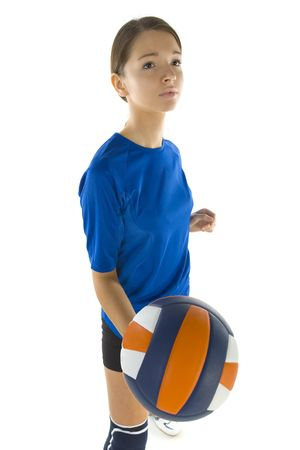 sportswoman: Young, beauty volleyball player. Holding ball and looking at something. White background, side view Stock Photo