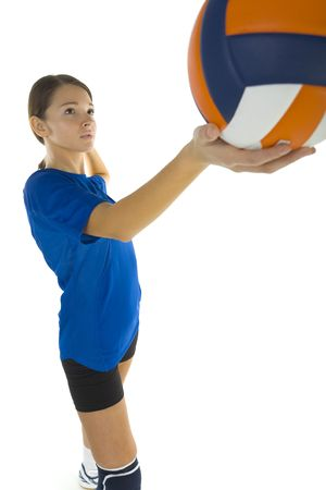 Young, beauty volleyball player. Holding ball and looking at something. White background, side view Stock Photo - 2605868