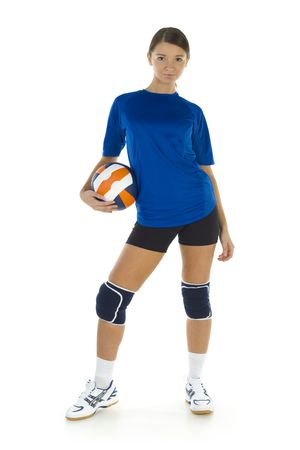 emulate: Young, beauty volleyball player. Holding ball and looking at camera. Isolated on white in studio. Whole body, front view