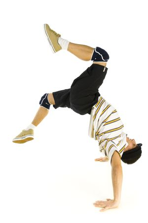 hang body: Young bboy standing on hands. Holding legs in air. Isolated on white in studio. Side view, whole body