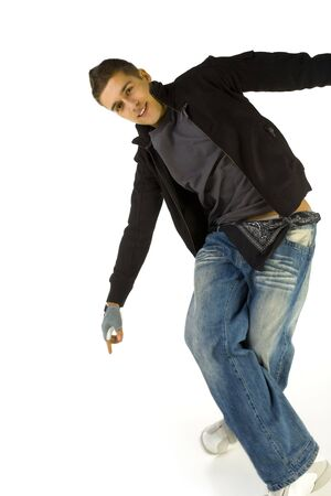 breakin: Young, happy dancing bboy. Looking at camera and smiling. Front view,  white background