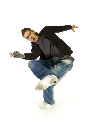 hang body: Young, screaming bboy standing on one leg. Looking at camera and pointing at something. Isolated on white in studio. Front view, whole body