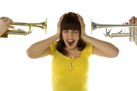 muscian: Somebody trumpet straight to the woman ear from two sides. She covering ears and screaming. Front view. White background.