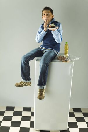 glutton: Young boy sitting on fridge and eating cake. Hes delighting a taste of cake. Front view. Stock Photo