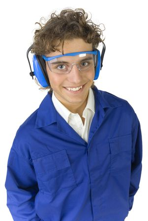 protectors: Smiling worker in goggles and hearing protectors. Hes looking at camera. White background