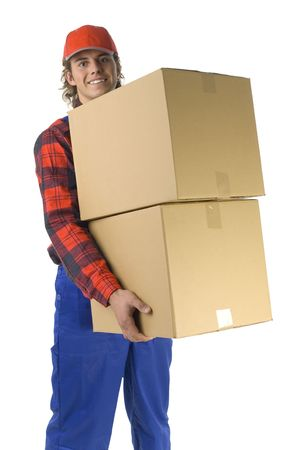 laden: Happy young man holding two boxes. Isolated on white background Stock Photo