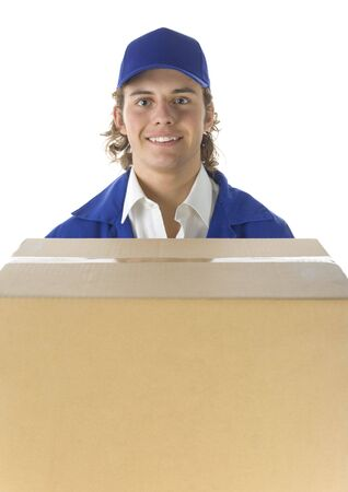 portage: Young male courier with carton box. Hes looking at camera. Front view Stock Photo