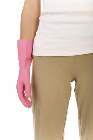 houseclean: Part of womans body with hand in pink rubber glove. Front view. White background.