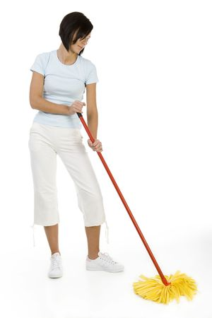 Young woman with the mop wipes the floor. Whole body. Front view. White background.