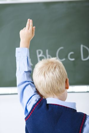 Young schoolboy sitting in front of chalkboard with hand up. Rear view.