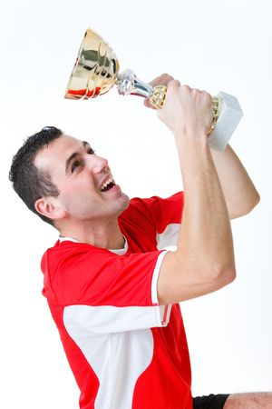 Happy man with cup. He's looking on cup. photo