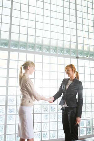 conclude: Two  businesswomen shake hands and conclude a deal.