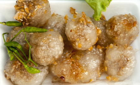 fil: Tapioca balls with pork filling Stock Photo