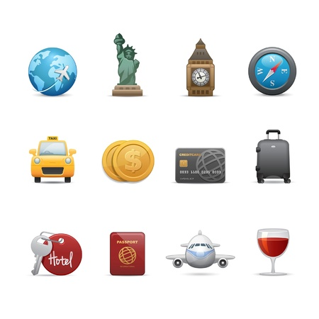 Travel and famous landmark related icons