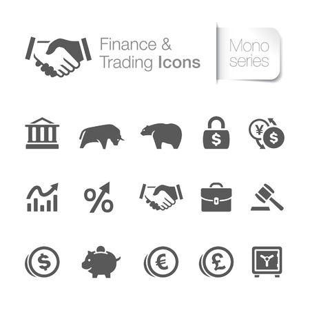 stock market charts: Finance   trading related icons Illustration