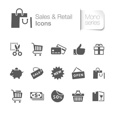 Sales   retail related icons Stock Vector - 21036407
