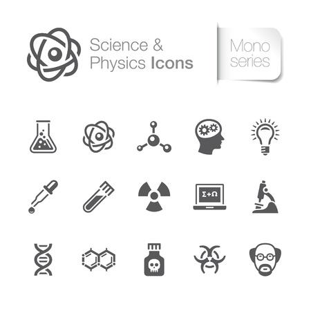 Fysica bijbehorende pictogrammen Stock Illustratie