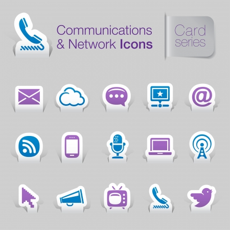 Communications   networks related icons 向量圖像