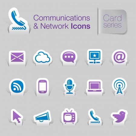 mic: Reti di comunicazione relative icone Vettoriali
