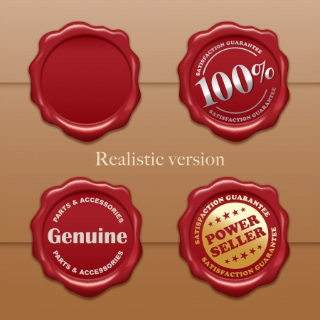 wax stamp: Old wax stamps - Realistic gradient mesh version