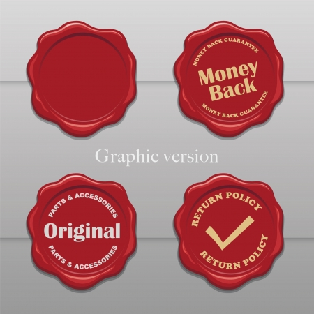 wax stamp: Old wax stamps - Simplify graphic version Illustration