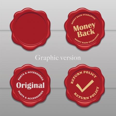 vereenvoudigen: Oude wax postzegels - Vereenvoudig grafische versie Stock Illustratie