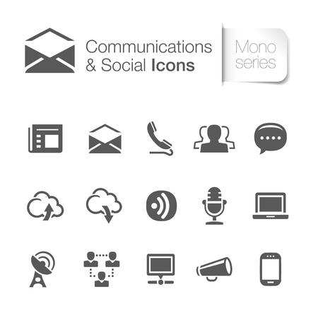 communication icons: Communications   networks related icons Illustration