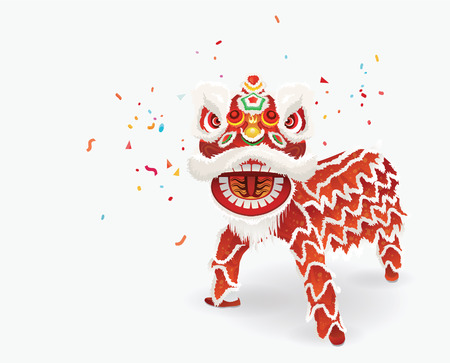 lion dessin: Traditionnelle danse du lion chinois Illustration