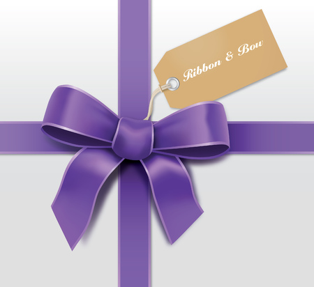 Satin purple ribbon with card Stock Vector - 22770238