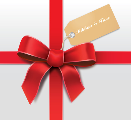 gift bow: Satin red ribbon with card