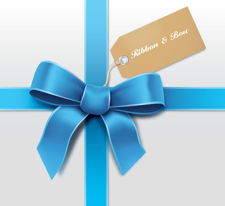 gift tag: Satin blue ribbon with card